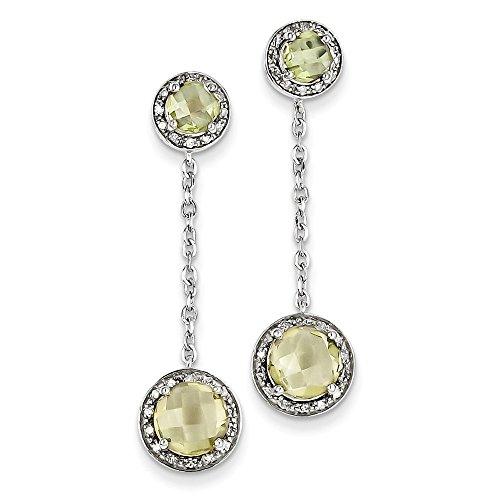Perfect Jewelry Gift Sterling Silver Diamond & Lemon Quartz Earring