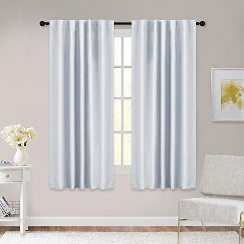 RYB HOME White Curtains for Bedroom, Room Darkening Drapes Thermal Insulated Panels for Living Room Window Dressing, Back Tab & Rod Pocket Top, 42 x 45 inch, Grayish White, One Pair