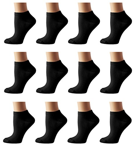 Sock Definitions Women's No Show Low Cut Socks Liner - 12 Pair,Black,Sock size: 9-11 Fits shoe: 4-10