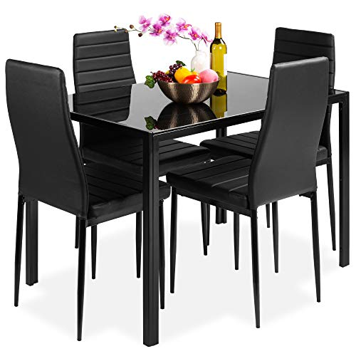Best Choice Products 5-Piece Kitchen Dining Table Set for Dining Room, Kitchen, Dinette, Compact Space w/Glass Tabletop, 4 Faux Leather Metal Frame Chairs - Black