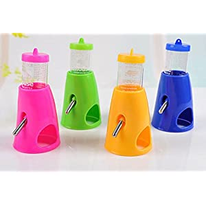 She-love 2 in 1 Hamster Water Bottle Holder Dispenser With Base Hut Small Animal Nest, Random Color, 1 Pc