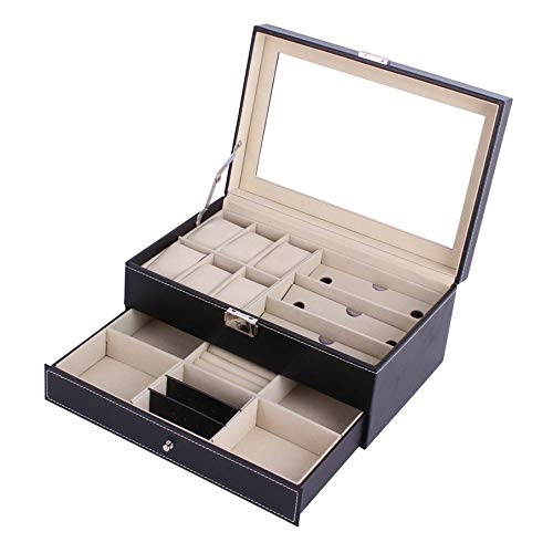 KNOSSOS Double Layers Wooden Jewelry Sunglasses Watch Display Slot Case Box Container - nero