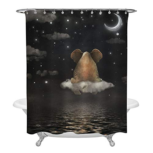MitoVilla Sad Elephant Sitting on Cloud in Night Sky Shower Curtain for Bathroom Decorations, Waterproof Polyester Fabric Decorative Bath Curtain Set with Hooks, Black, 72 x 72 Inch