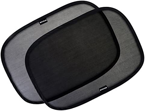Enovoe Car Window Shade – (2 Pack) – 21″x14″ Cling Sunshade for Car Windows – Sun, Glare and UV Rays Protection for Your Child – Baby Side Window Car Sun Shades