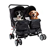 Livebest Folding 4-Wheels Double Pet Stroller Small Animals Carrier Easy Walk Travel Jogger with 2 Separate Seats & 360 Rotating Front Wheel for Two Cats or Dogs