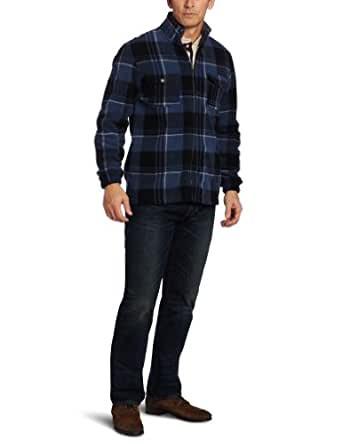 IZOD Men's Plaid Full Zip Jacket, Dark Denim, Small