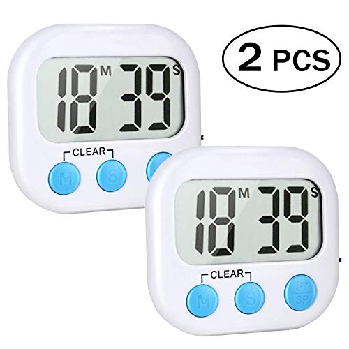 2 Pack Digital Kitchen Timer Big LCD Display Loud AlarmMag netic Back and Stand ON/OFF Switch Minute Seconds Count Up Countdown(White)