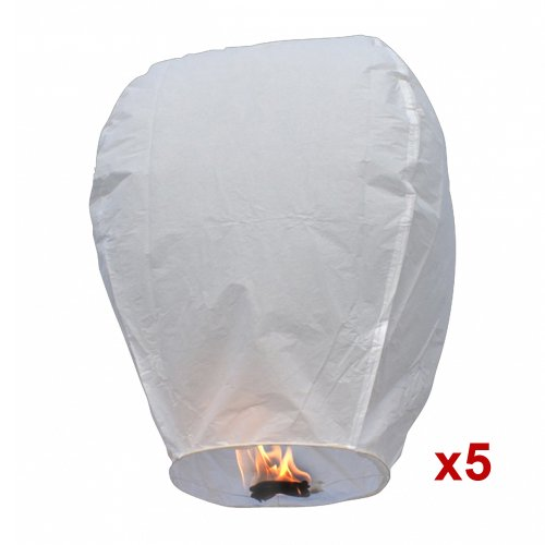 5pc White Sky Fire Chinese Lanterns Flying Paper Wish Balloon for Wedding Festival Christmas Party, Outdoor Stuffs