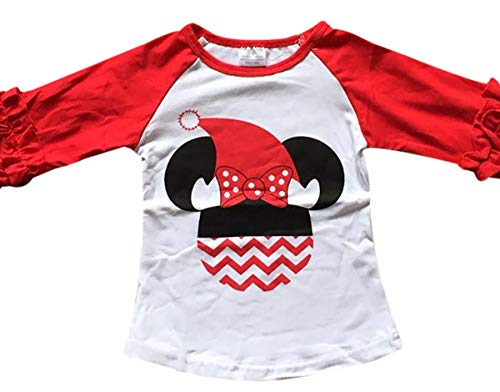 BluNight Collection Little Girl Kids Christmas Hat Birthday Holiday Shirt Top Tee T-Shirt White Red 6 XL (318511)