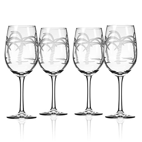 Rolf Glass 203423-S/4 Palm Tree 12 Ounce White Wine Glass (Set of 4), 12 oz, Clear