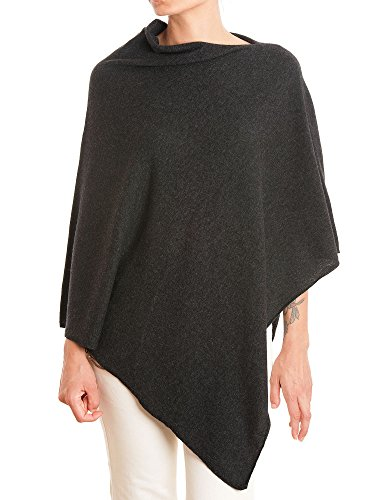 (DALLE PIANE CASHMERE - Poncho Cashmere Blend - Made in Italy, Color: Anthracite, One Size)
