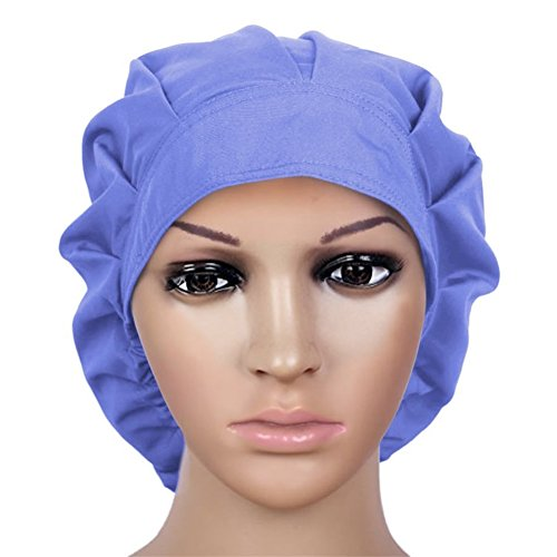Doctor Scrub Cap Adjustable Sweatband Bouffant Cotton Hats For Women Ponytail Blue