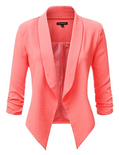 jj-perfection-womens-texture-woven-thin-ruched-sleeve-open-front-padded-blazer-neoncoral-m