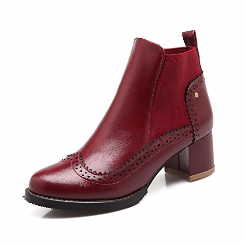 AllhqFashion Womens Kitten-Heels Soft Material Ankle-high Solid Pull-On Boots Claret