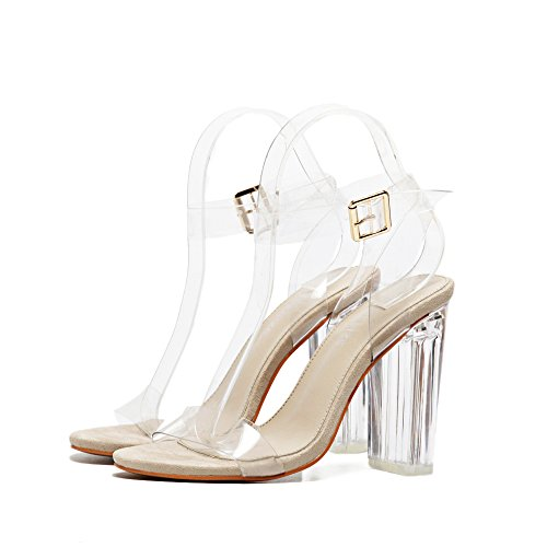 eshion Casual Solid Transparent Peep Toe High Heeled T-Strap Heels A Zhywa20rJ