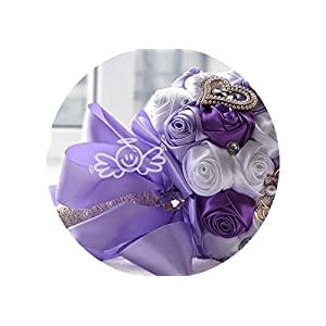 Tokyo Cold ovia Bridal Wedding Flowers Satin Roses Bride Bouquets Love Brooch Bouquet Crystals Artificial Rose Wedding Bouquet FE64,Lilac White Purple 108