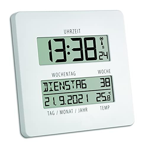TFA Reloj Digital de Pared Blanco con termómetro