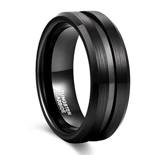 8mm Black Tungsten Wedding Band Ring for Men Grooved Center Brush Finish Comfort Fit Size 11.5