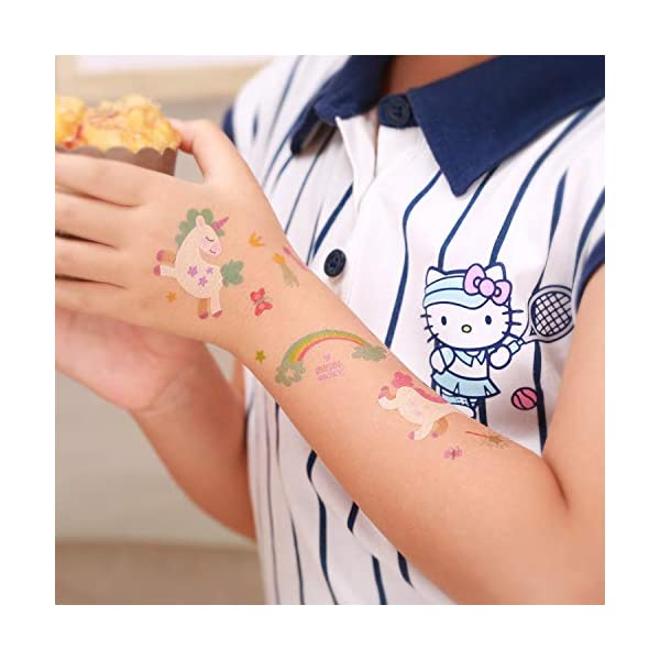 Reusable Unicorn Drinking Plastic Straws + Unicorn Temporary Tattoos for Girls | Unicorn Birthday Party Supplies… 8