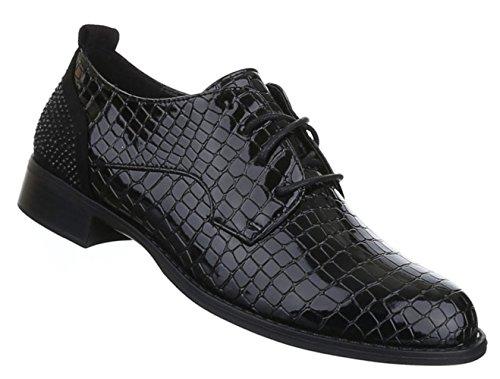 Damen Halbschuhe Lace up Schuhe Schnürung Schwarz Grau 36 37 38 39 40 41 Schwarz