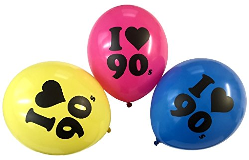90s Balloons 10 Latex 90s Theme Balloons Assorted (90s Theme Party)