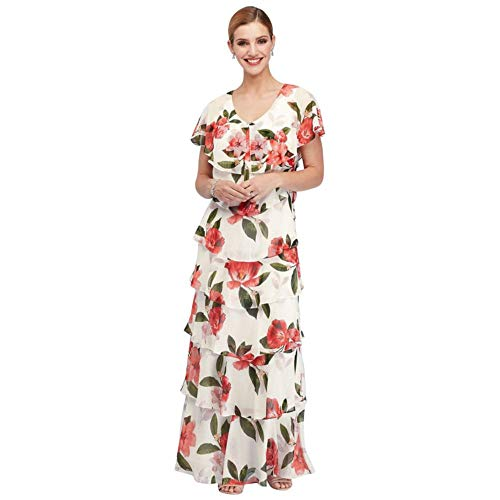 Ruffled Tiers Floral Chiffon Flutter Sleeve Mother of Bride/Groom Gown Style 9171433, Ivory, 16