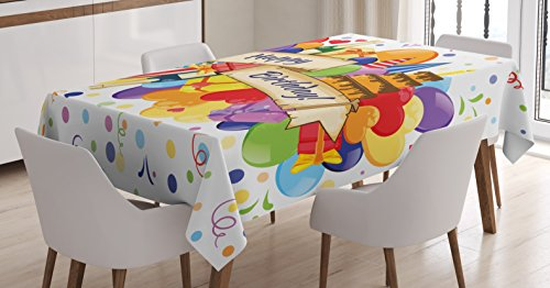Ambesonne Birthday Tablecloth, Colorful Joyous Burst with Champagne Bottles Cake Balloons Celebration, Dining Room Kitchen Rectangular Table Cover, 60