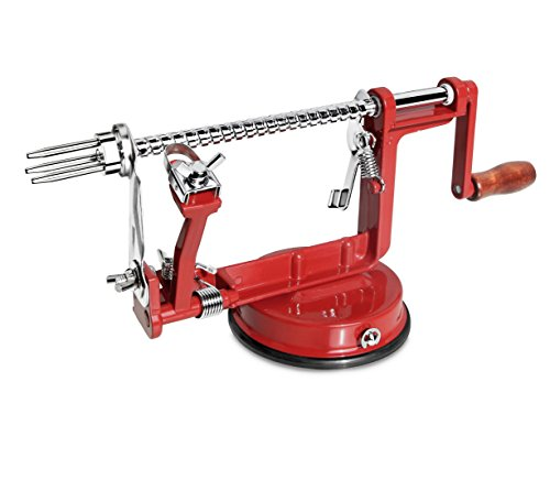 New Star Foodservice 43020 Apple and Potato Peeler with Suction Base, Red