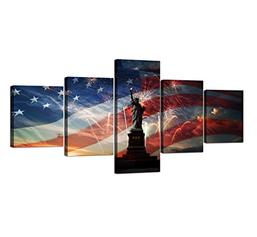 American Flag Wall Art Morden Statue of Liberty Fireworks Painting on Canvas Patriotic Concept USA 5 Panel Artwork Print Giclee for Living Room Home Decor Stretched Framed Varying size(50''W x 24''H)