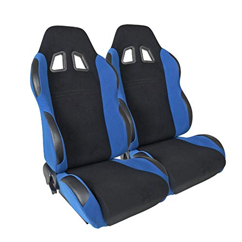 Scion Xb Racing Seats - [L+R] Black/Light Blue Fabric Cloth Reclinable Sport Racing Seats w/Sliders