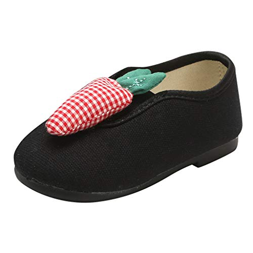 〓COOlCCI〓Toddler Kid Boys Girls Cute Slip-On Shoes Lightweight Breathable Walking Sneakers Low Canvas Shoes Athletic Black -