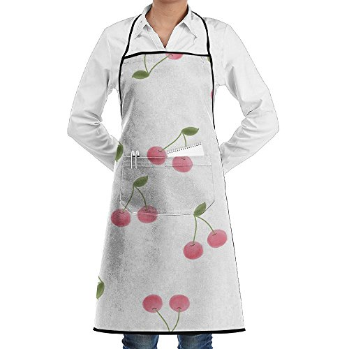 Kitchen Bib Apron Neck Waist Tie Center Kangaroo Pocket Cerezas Pictuer Waterproof ()