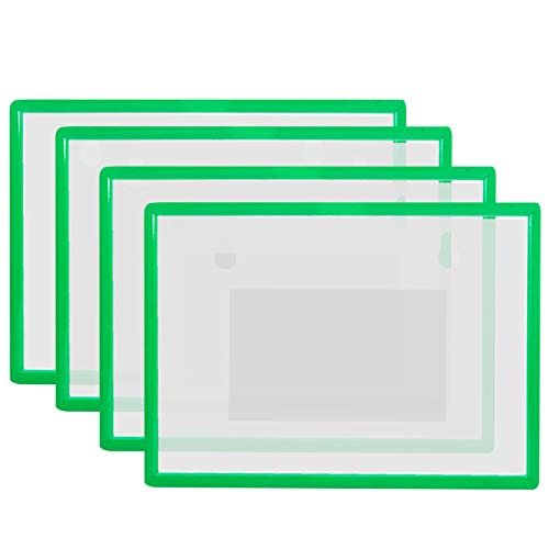 4 Pack Magnetic Sign Holder for Letter / A4 Size Paper, Document File Cases with Plastic Frame and Magnetic Back for Office School Whiteboard/Chalkboard/Steel Cabinet, Green