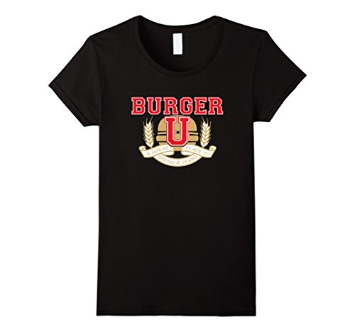 Womens Burger U Great Place to Spend Four Years T-Shirt Medium Black