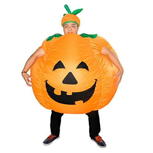 Amosfun Halloween Fancy Dress Costume Adults Inflatable Pumpkin Party Clothing Costumes for Halloween Cosplay Performance (Orange)]()