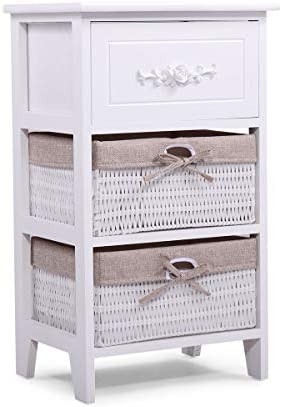 JAXPETY VD-54405HWWH Night Stand 3 Tiers 1 Drawer Bedside End Table Organizer Wood W 2 Baskets White