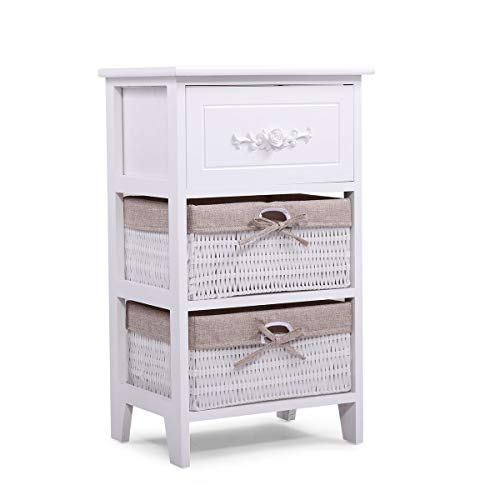 (LAZYMOON Wood Nightstand End Tables Side Tables Fully Assembled with 2 Wicker Baskets for Bedroom Set of 1)