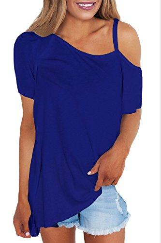 Women 's Casual Loose Hombro Frio Uno Hombro T Shirt Blusas Tops Blue