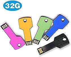 5 USB Flash Drives Pack 16GB 2.0 Metal Thumb Jump Memory Stick Key Shape Mixed