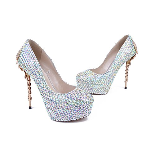 Minitoo Ladies MA04124 Round Toe Platform Leather Sparkle Bride Wedding Evening Pumps Multicolored Or38GXnDf