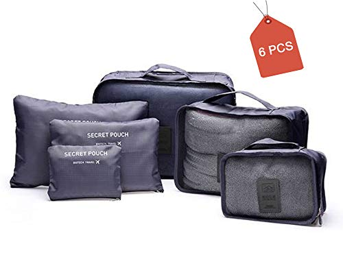 AimtoHome 6 Set Travel Storage Bags Multi-functional Clothing Sorting Packages, Travel Packing Pouches, Luggage Organizer Pouch, Packing Cubes-Compression Pouch, Gray