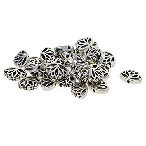 Prettyia 30PCS Tibetan Silver Hollow Out Lotus Flower Metal Beads Cute Spacer Loose Beads Charms for DIY Jewelry Making (16 x 13 x 4 mm)