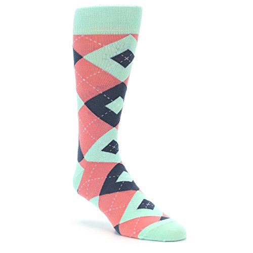 Statement Sockwear Argyle Groomsman Wedding Socks (Coral Mint)
