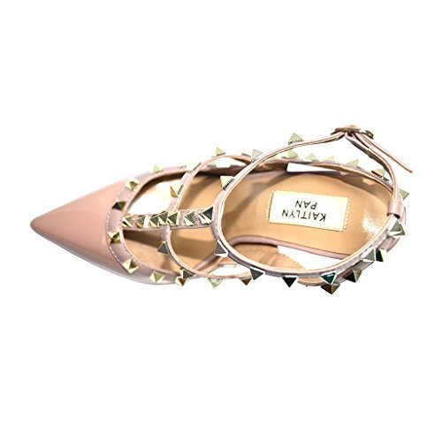Kaitlyn Pan RockStud Slingback High Heel Leather Pumps (7US/ 37.5EU/ 38CN, Nude Patent/Nude Straps/Gold Studs)