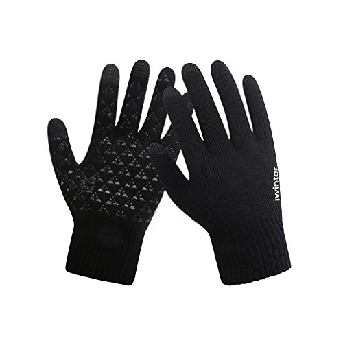 Winter Touch Screen Gloves Mens Women For Smart Phone Texting Thermal Lined Knitted Mittens (black) (Mittens Stretch Gore)