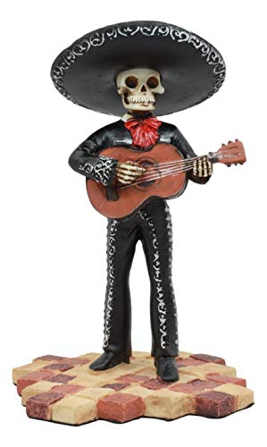 Ebros Traditional Charro Outfit Black Mariachi Band Skeleton Guitarist Statue Day of The Dead Folk Musician Figurine Dias De Los Muertos Decorative Collectible Graveyard Serenade -
