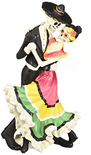 Design Toscano Day of The Dead Zombie Skeleton Dancers Halloween Statue, 12 Inch, Polyresin, Bone ()