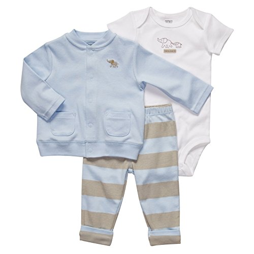 Carter's Blue & Brown 3-pc. Cardigan Set BLUE/MULTI 6 Mo