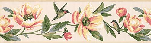 Wallpaper Border Pink Yellow Flowers Hummingbird 7
