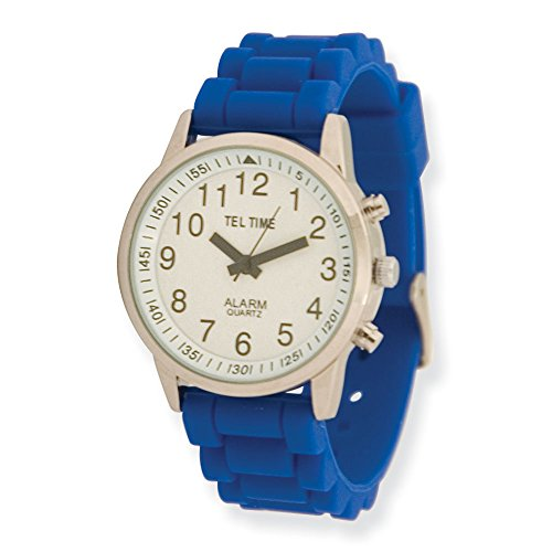 Ladies Touch Talking Watch - Large Face - Blue Rubber Band
